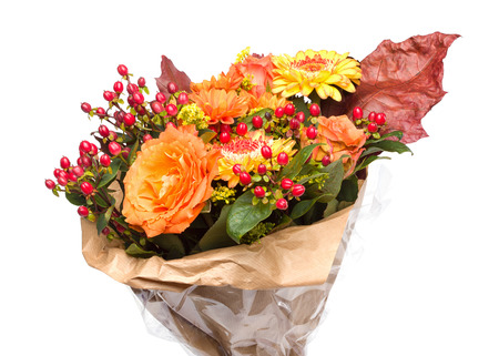 Autumnal Flower bouquet, Isolated on White Background, with Roses, leafs and Hypericum androsaemum photo