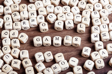 Text concept macro: Letter dices forming word games