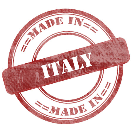 Graphic sign of damaged grunge seal stamp with business text: Made in Italy photo
