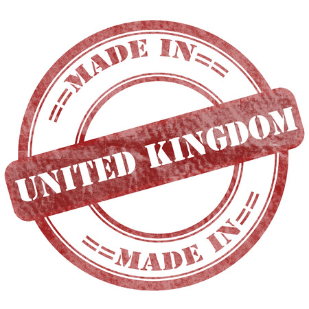 Graphic sign of damaged grunge seal stamp with business text: Made in United Kingdom photo