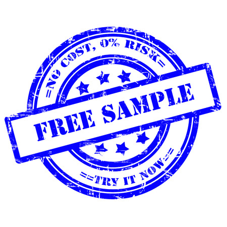 Free Sample, Try it now. Rubber stamp, grunge, isolated on white background.