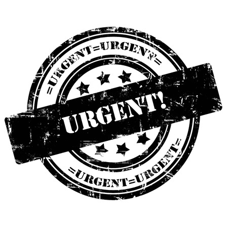 Urgent. Rubber stamp, grunge, isolated on white background. Stock Photo