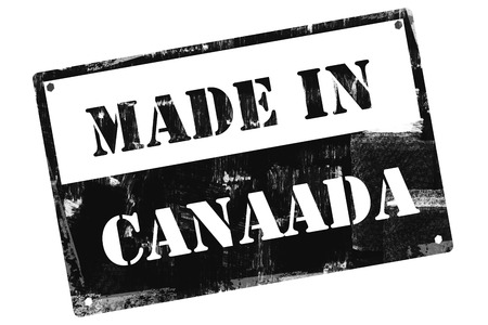 Made in Canada plate, illustrated with grunge textures, cutout, isolate on white background. Stock Photo