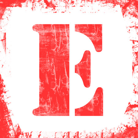 e white: Letter E in a series of single square stamps with grunge design, isolated on white background.