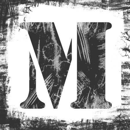 letter m: Letter M in a series of single square stamps with grunge design, isolated on white background. Stock Photo