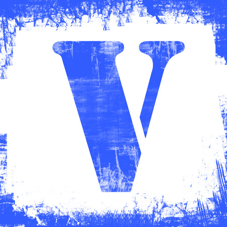 Letter V in a series of single square stamps with grunge design, isolated on white background.