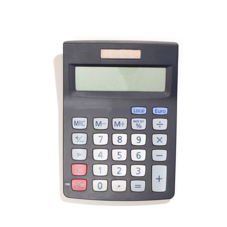 Calculator with solar energy cells, black with grey keys. Top view, isolated on white background. Reklamní fotografie
