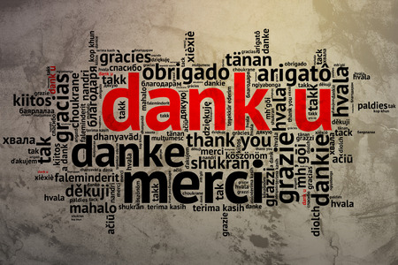 Focus on Dutch: Dank u. Word cloud in open form on Grunge Background. saying thanks in multiple languages. photo