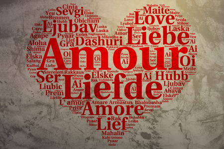 metadata: Focus on French: Amour. Word cloud in heart shape on Grunge Background. saying thanks in multiple languages.
