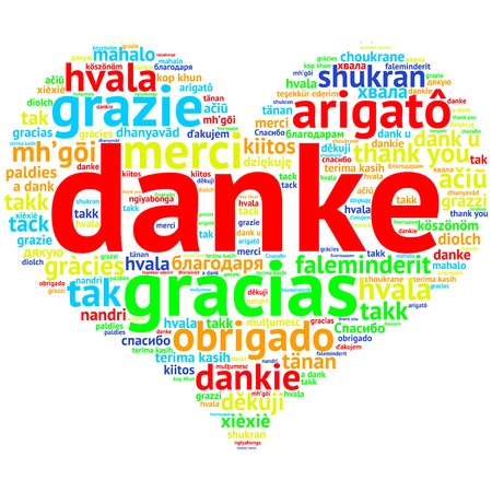metadata: focus on German: Danke. Word cloud in heart shape on white Background. saying thanks in multiple languages. Stock Photo
