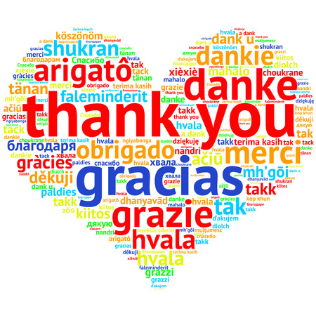 metadata: focus on English: Thank you. Word cloud in heart shape on white Background. saying thanks in multiple languages.