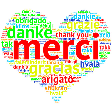 Focus on French: Merci. Word cloud in heart shape on white Background. saying thanks in multiple languages. Zdjęcie Seryjne