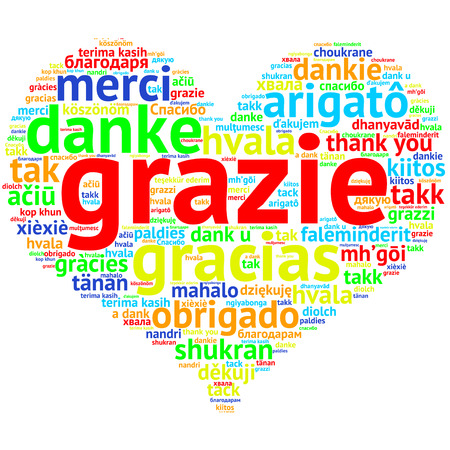 metadata: Focus on Italian: Grazie. Word cloud in heart shape on white Background. saying thanks in multiple languages. Stock Photo