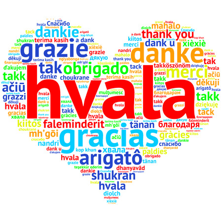 metadata: Focus on Serbian, Croatian: Hvala. Word cloud in heart shape on white Background. saying thanks in multiple languages.