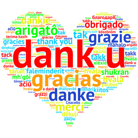 metadata: Focus on Dutch: Dank u. Word cloud in heart shape on white Background. saying thanks in multiple languages. Stock Photo
