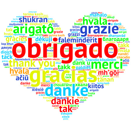 metadata: Focus on Portuguese: Obrigado. Word cloud in heart shape on white Background. saying thanks in multiple languages.