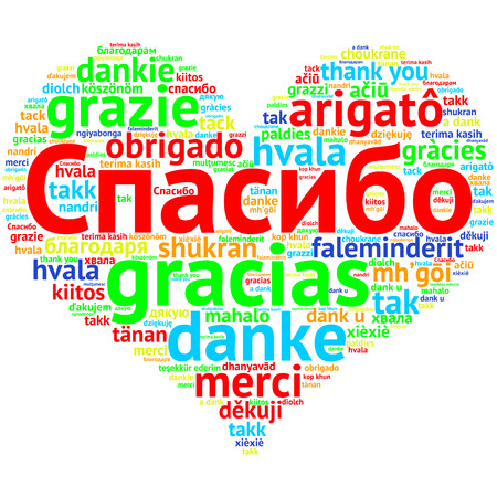 metadata: Focus on Russian: Spasiba, Word cloud in heart shape on white Background. saying thanks in multiple languages.