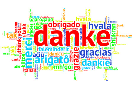 metadata: Focus on German: Danke. Word cloud in open form on white Background. saying thanks in multiple languages. Stock Photo