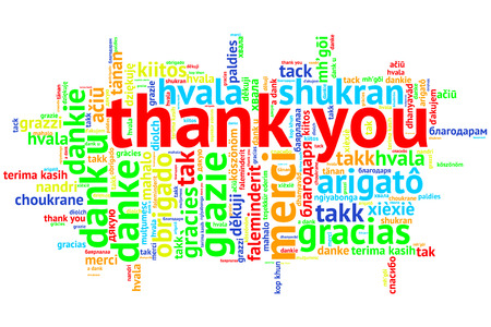 metadata: focus on English: Thank you. Word cloud in open form on white Background. saying thanks in multiple languages. Stock Photo