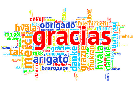 metadata: Focus on Spanish - Gracias, Word cloud in open form on white Background. saying thanks in multiple languages. Stock Photo