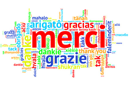 metadata: Focus on French - Merci. Word cloud in open form on white Background. saying thanks in multiple languages.