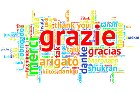 metadata: Focus on Italian - Grazie. Word cloud in open form on white Background. saying thanks in multiple languages.