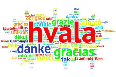 metadata: Focus on Serbian, Croation - Hvala, Word cloud in open form on white Background. saying thanks in multiple languages.