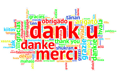 Focus on Dutch: Dank u. Word cloud in open form on white Background. saying thanks in multiple languages. Zdjęcie Seryjne