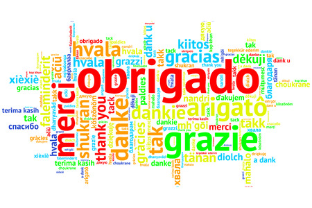 metadata: Focus on Portuguese - Obrigado. Word cloud in open form on white Background. saying thanks in multiple languages. Stock Photo