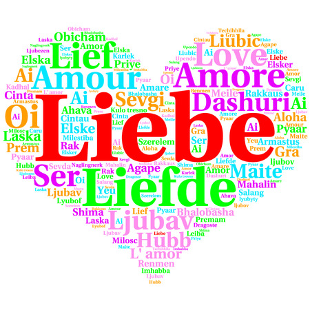 metadata: Focus on German: Liebe. Word cloud in heart shape on white Background. saying thanks in multiple languages. Stock Photo