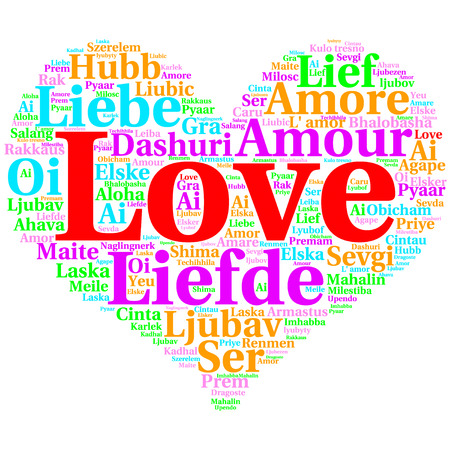 metadata: Focus on English: Love. Word cloud in heart shape on white Background. saying thanks in multiple languages.