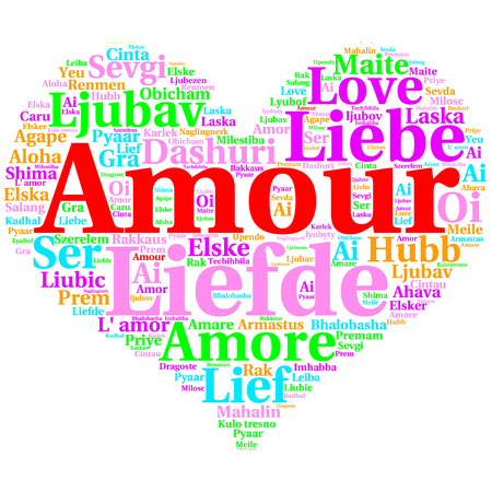 metadata: Focus on French: Amour. Word cloud in heart shape on white Background. saying thanks in multiple languages.