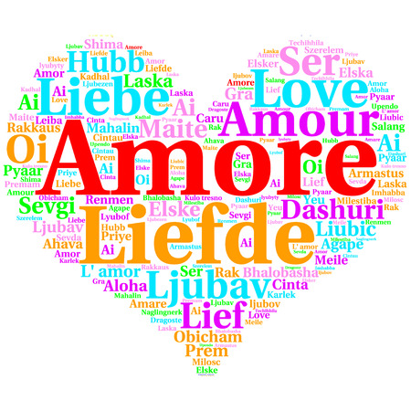 metadata: Focus on Italian: Amore. Word cloud in heart shape on white Background. saying thanks in multiple languages. Stock Photo