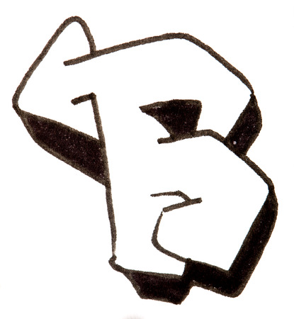 alphabet graffiti: Alfabeto pintado en el estilo graffity con un l�piz negro fibretip