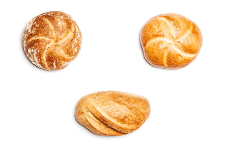 high angle: High angle view on three different bread rolls on white background, cutout isolated. Stock Photo