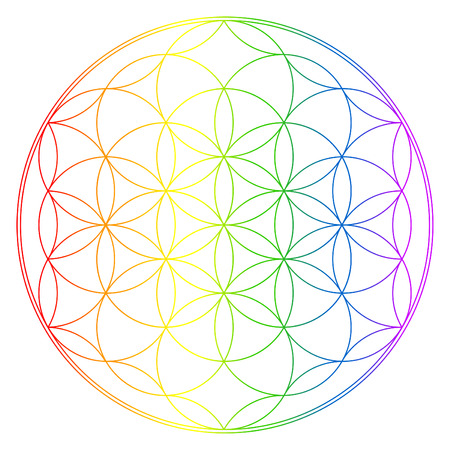 chakra: Flower of life, buddhism chakra illustrationFlower of life, buddhism chakra illustration, rainbow gradient overlay