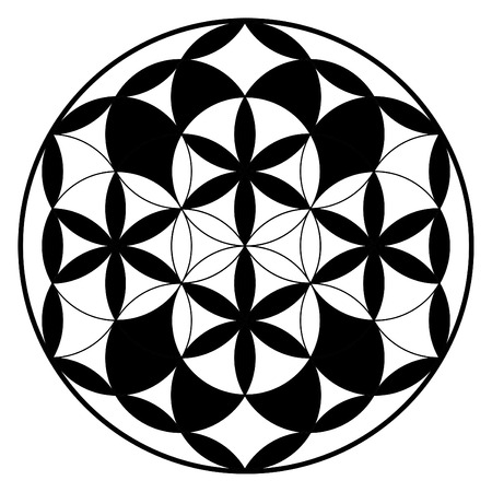 ancient yoga: Flower of life, buddhism chakra illustration, ancient spiritual pattern