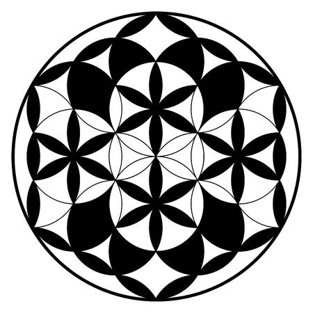 chakra: Flower of life, buddhism chakra illustration, ancient spiritual pattern
