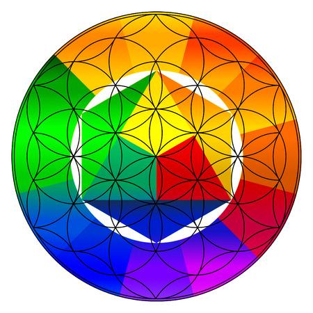 chakra: Flower of life, buddhism chakra illustration, gradient color wheel overlay Stock Photo