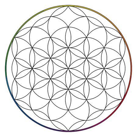 esoteric: Flower of life, buddhism chakra illustration, simple ancient esoteric graphic