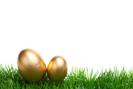 gold eggs: Easter Grass border, isolated on white, with two gold eggs Stock Photo