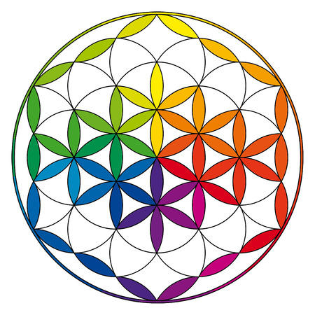 spiritual meditation creation: Flower of life, buddhism chakra illustration with color wheel pattern