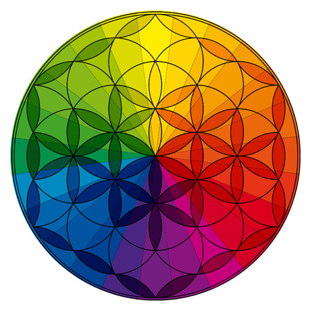 Flower of life, buddhism chakra illustration, color wheel overlay Zdjęcie Seryjne