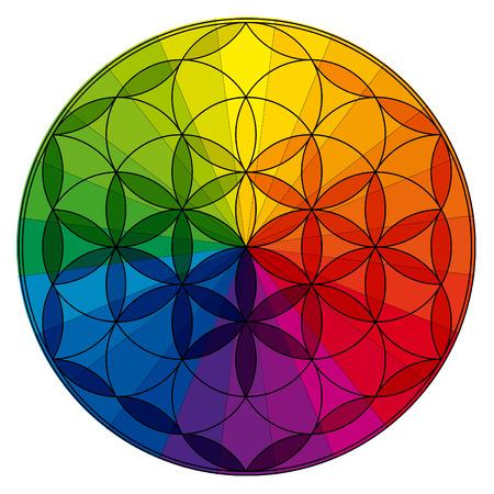 Flower of life, buddhism chakra illustration, color wheel overlay Stock Photo