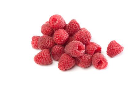 stash: Fresh red rapsberries , isolated on white background Stock Photo