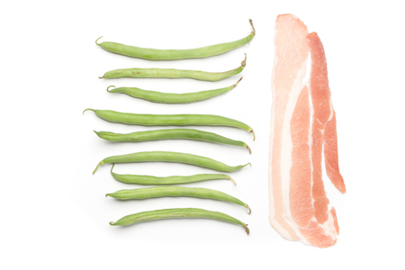 raw bacon: Fresh green beans and raw bacon, isolated on white background