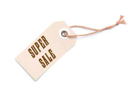 Light brown carton Super Sale label tag with special sales discount message Stock Photo