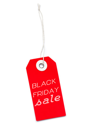 Red sales label tag with Black Friday Sale message