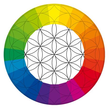 spiritual meditation creation: Flower of life, buddhism chakra illustration, color wheel overlay with rainbow colors Stock Photo