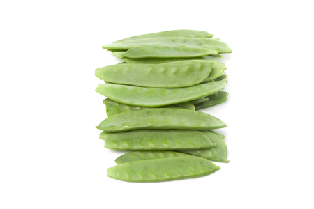 stash: Fesh green sugar pea pods, isolated on white background.
